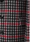 Kırmızı Siyah Kelebek Yaka Ekoseli Yün Palto