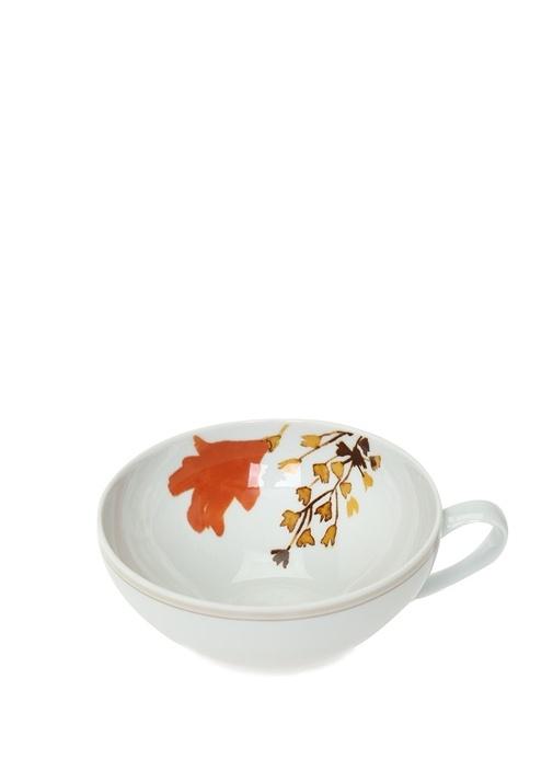 Beyaz Çiçek Baskılı Porselen Çay Fincanı