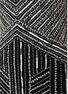 Siyah Beyaz İşlemeli Kısa Kol Mini Kokteyl Elbise