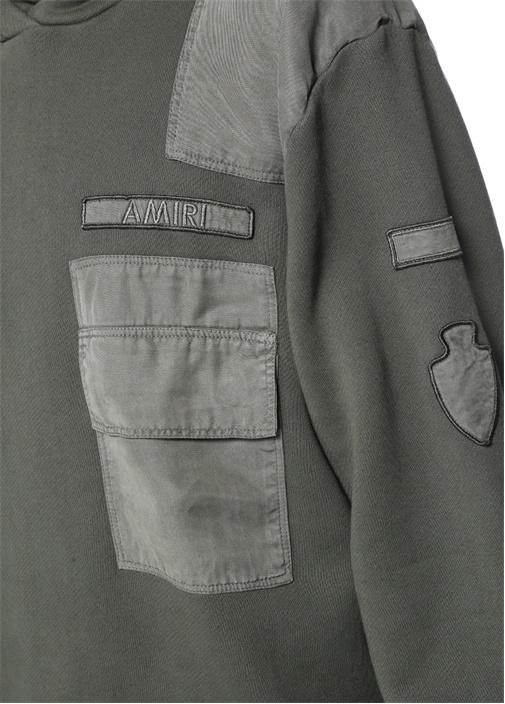 Haki Kapüşonlu Garni Detaylı Cepli Sweatshirt