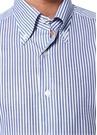 Heros Lacivert Beyaz Düğmeli Yaka Çizgili Gömlek