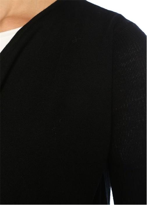 Mirri Siyah Şifon Garnili Yün Hırka