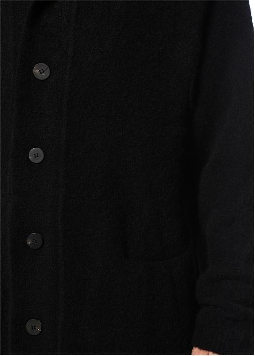 Siyah Kapüşonlu Yün Hırka