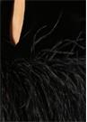 Siyah Tüy Detaylı Dik Yaka Kadife Bluz