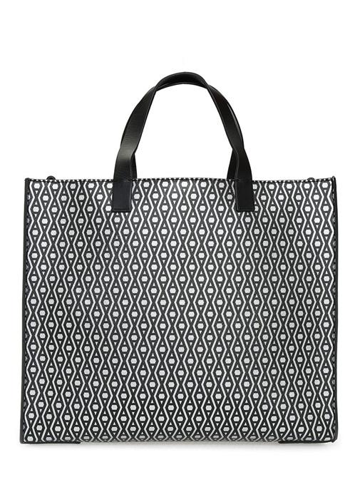 Monogram Gri Siyah Logolu Kadın Alışveriş Çantası
