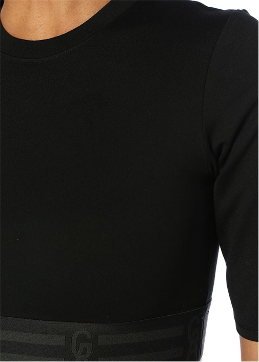The Icon Siyah Logo Bantlı Crop T-shirt