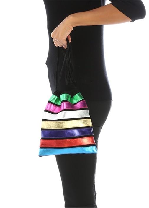 Colorblocked Şerit Detaylı Kadın Deri El Çantası
