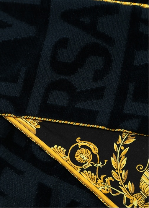 Lacivert Gold Barok Desenli Unisex Bornoz