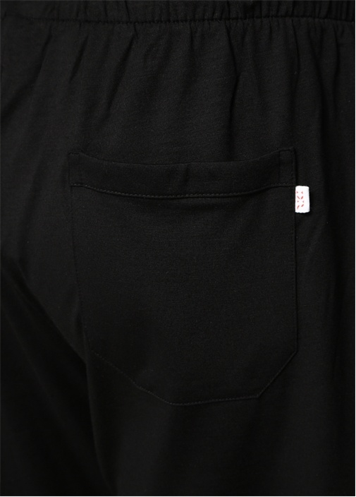 Siyah Beli Kordonlu Jersey Pijama Altı