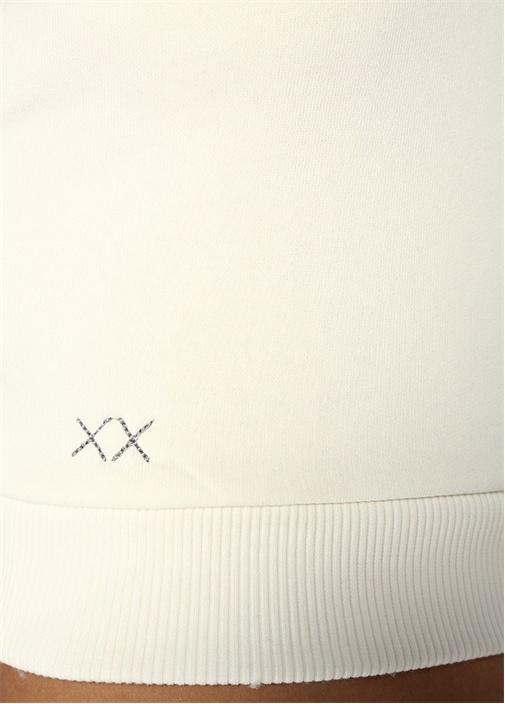 Venice Halter Yaka Beyaz Dokulu Crop Bluz