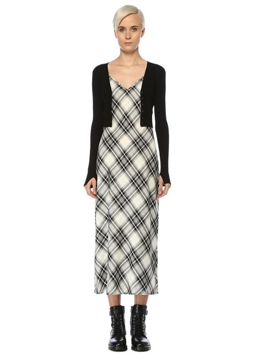 Nina Siyah Triko Detaylı Ekoseli Midi Elbise