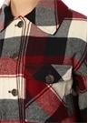 Kırmızı Siyah Ekoseli Bol Kesim Yün Ceket