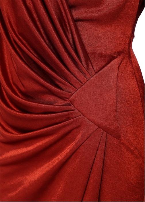 Kiremit V Yaka Drapeli Maksi Saten Abiye Elbise
