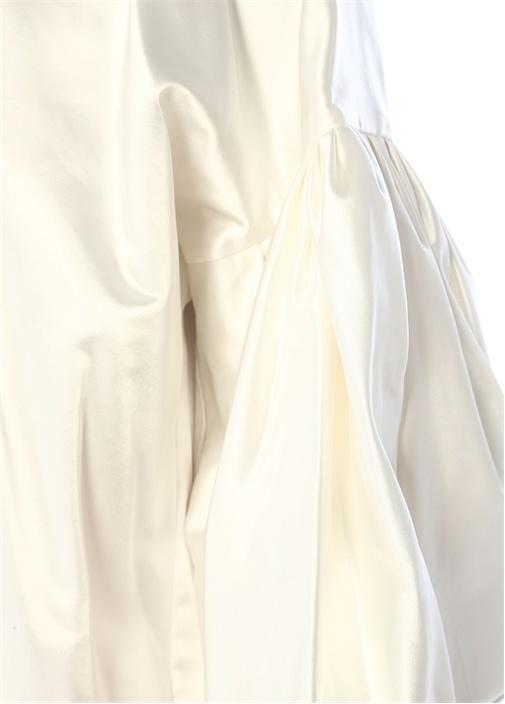 Nightingale Beyaz Balon Kol İpek Bluz