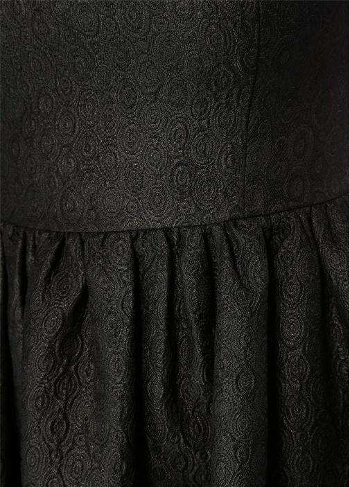 Victoria Siyah U Yaka Dokulu Maksi Elbise