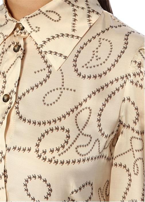 Vivian Krem Zincir Desenli Midi Gömlek Elbise