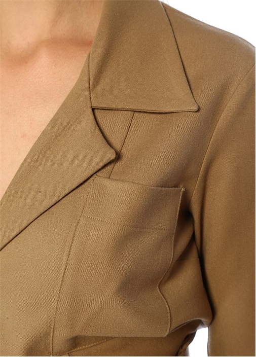 Molly Kamel Kelebek Yaka Cepli Yün Bluz