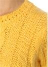 Fay Sarı Kısa Kol Saç Örgü Kazak