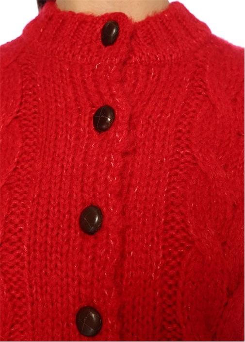Ace Kırmızı Düğmeli Saç Örgü Hırka