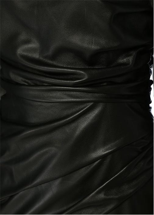 Siyah Kare Yaka Drapeli Uzun Kol Mini Deri Elbise