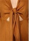 Asilah Taba Önü Bağcıklı Midi Keten Elbise