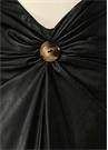 Siyah Düğmeli Drapeli Midi Suni Deri Etek
