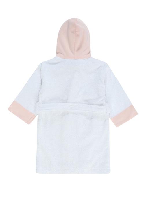 Caramelo Beyaz Kapüşonlu Kız Bebek Bornoz