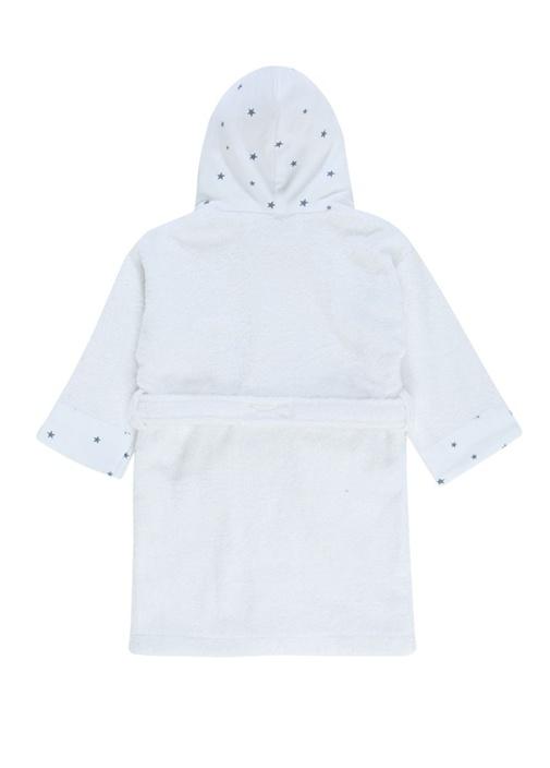 Navy Beyaz Kapüşonlu Bebek Bornoz