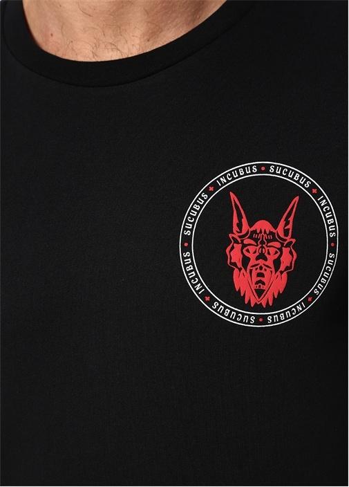 Siyah Baskılı Bisiklet Yaka Basic T-shirt