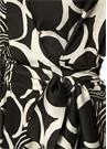 Siyah Beyaz Desenli Midi Asimetrik KrepElbise