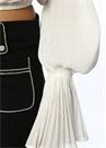 Beyaz Taş Düğmeli Balon Kol Abiye Bluz
