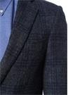 Mavi Kelebek Yaka Kareli Yün Soft Ceket