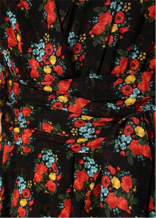 Siyah V Yaka Çiçekli Midi Anvelop Elbise
