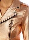 Rose Gold Beli Kemerli Biker Deri Ceket