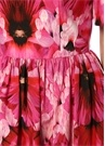 Pembe Kare Yaka Çiçekli Midi Poplin Elbise