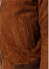 Kahverengi Dik Yaka Süet Bomber Mont