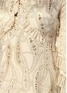 Liora Krem Şal Desenli Asimetrik Mini Elbise