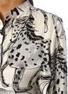 Siyah Beyaz Dik Yaka At Baskılı İpek Gömlek