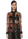 Queenly Siyah Nakışlı Fiyonklu Transparan Bluz