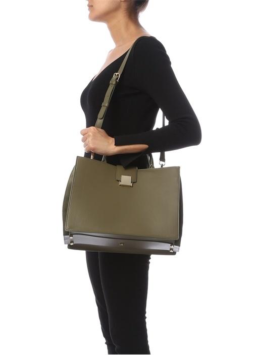 Haki Logolu Kadın Deri Çanta