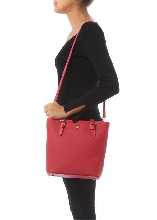 Sade Küçük Kırmızı Gold Logolu Kadın Çanta