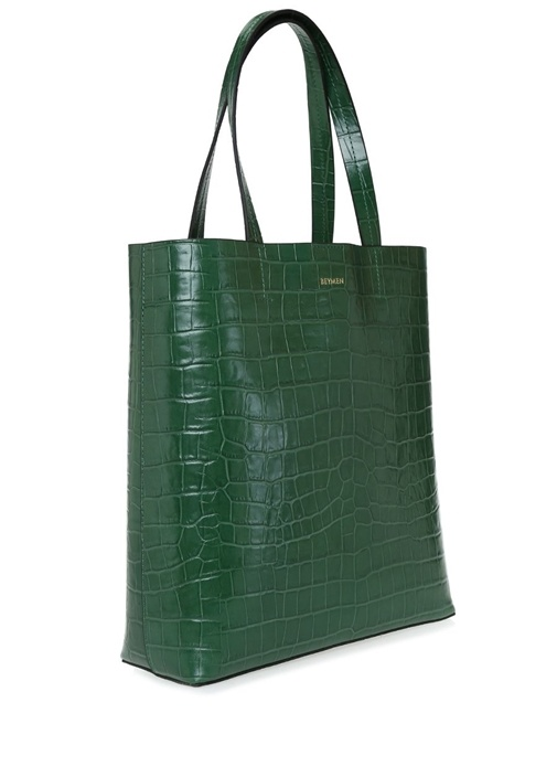 Aden Yeşil Krokodilli Kadın Deri Alışveriş Çantası