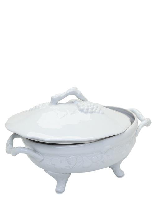 Beyaz Ayaklı Kendinden Desenli PorselenTencere
