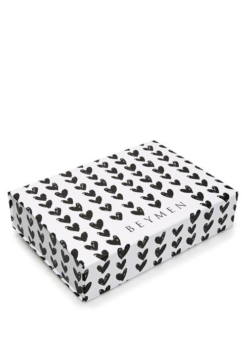 Siyah Beyaz Kalp Desenli Dekoratif Kutu