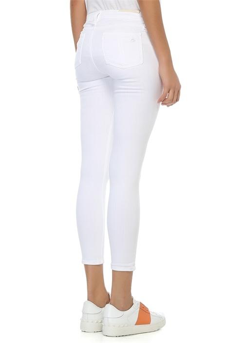 Beyaz Düşük Bel Jean Pantolon