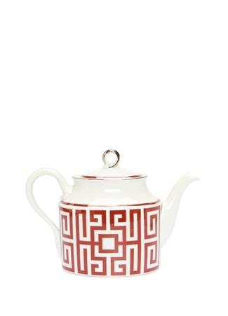 Labirinto Kırmızı Beyaz Porselen Çaydanlık