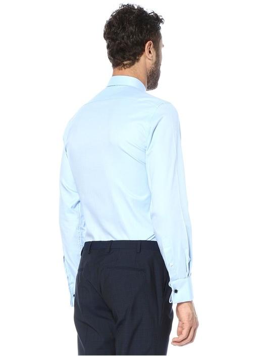 Custom Fit Mavi İngiliz Yaka Oxford Gömlek
