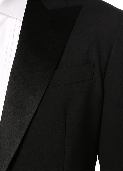 Siyah Kelebek Yaka Yün Takım Elbise