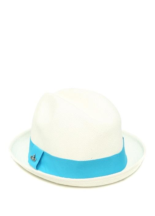 Beyaz Bantlı Hasır Erkek Şapka