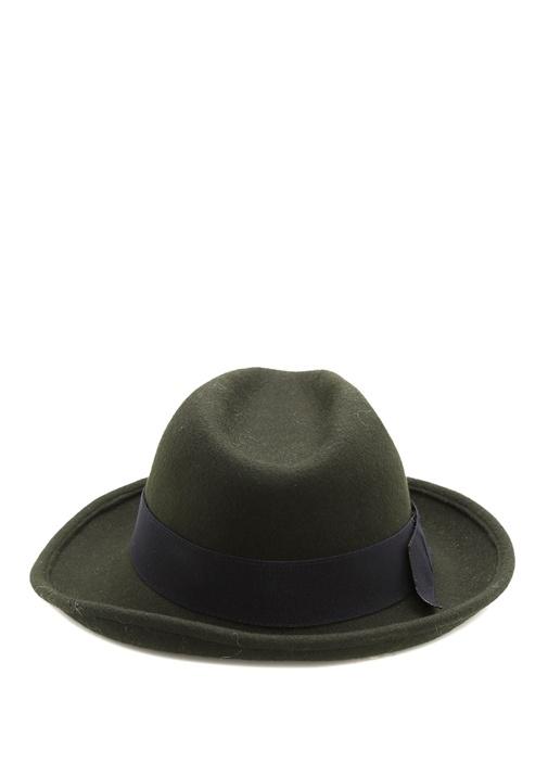 Haki Geniş Bantlı Kadın Yün Şapka
